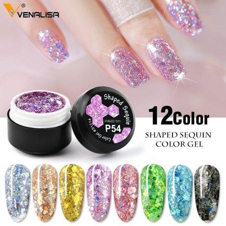 Venalisa Uv&Led Starry Platinum Glitter / гел глитер хексагон