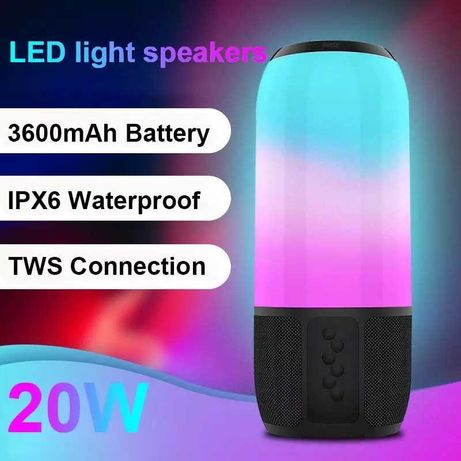 Уникална RGB Безжична Колона Колонка Bluetooth Тонколона USB