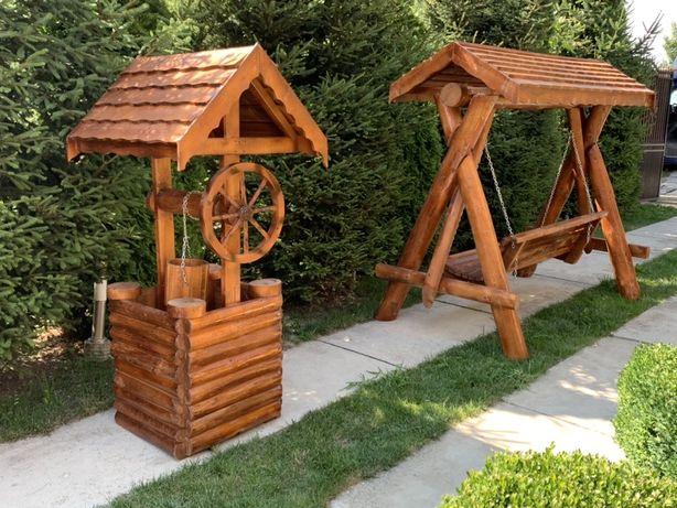 Leagan lemn , fantana rustica din lemn masiv