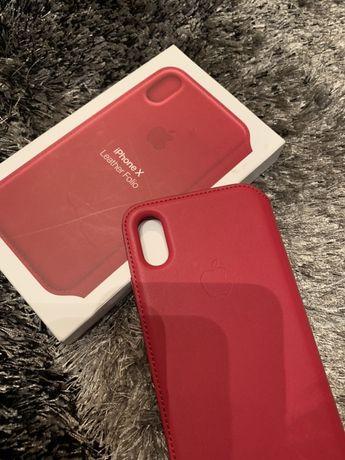Husa Apple iPhone X Leather Folio Berry