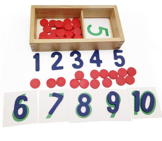 Монтесори броячи с изрязани цифри и карти / смятане в кутия