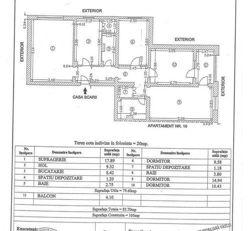 Apartament 4 camere -  84mp utili - etaj 3