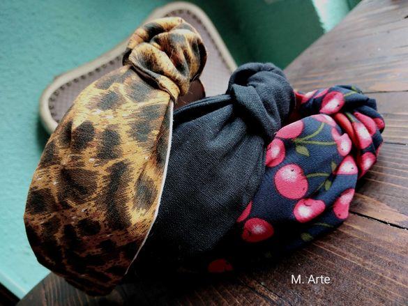 Диадеми и Скрънчита Ръчна Изработка Диадема Черешки Леопардов принт