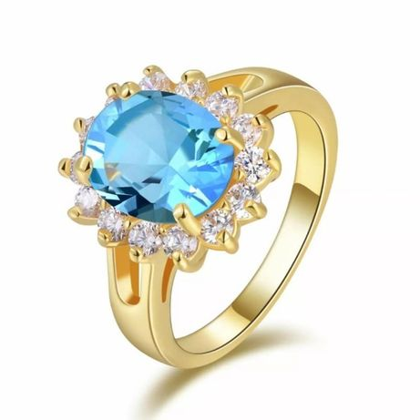 GR205,inel placat aur 18k, model anturaj, zirconiu alb/bleu,superb
