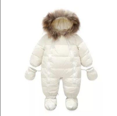 Combinezon cu puf de gasca si blana naturala iarna copii