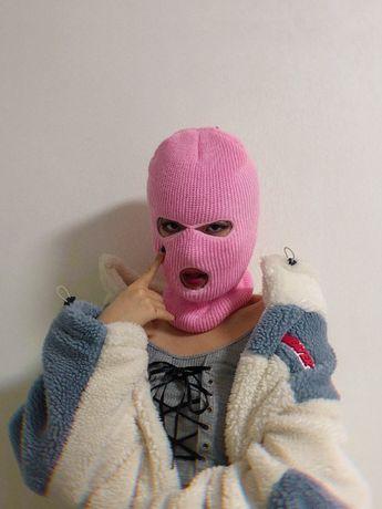 Розовая балаклава/маска, вязаная, гламурная, с доставкой
