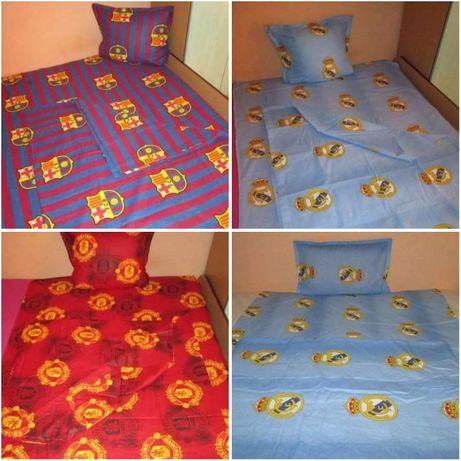 Спален комплект на Ман.Ю,Барселона и Реал М-плик,чаршаф и калъфка