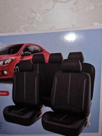 Авточехлы из экокожи,черные,в упаковке. 5 местный  (универсальный).