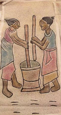 tablouri africane originale nisip cu motive specifice din zona Africii
