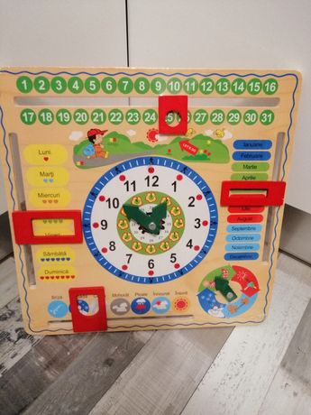 Calendar ceas lemn educativ copii
