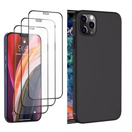 Husa Slim Silicon si Folie Sticla Curbata - Iphone 12 MINI / PRO / MAX
