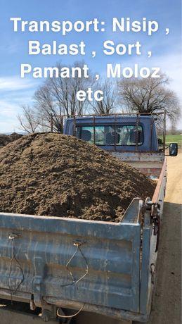 Transport basculabil :Nisip,Sort,Balast,Pamant,Piatra,Moloz,Marfa..etc