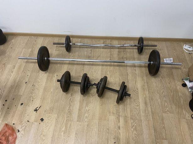 Pachet sala gantere reglabile, bara haltera piept+Bara z 78 kg total