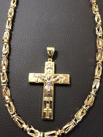 Ланец и кръст златни 14 карата 585 gold zlatni lanec zlatno