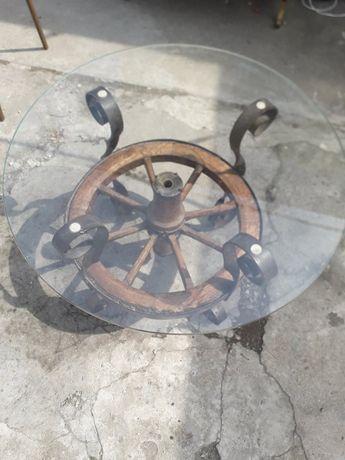 masa din roata de car cu fier forjat