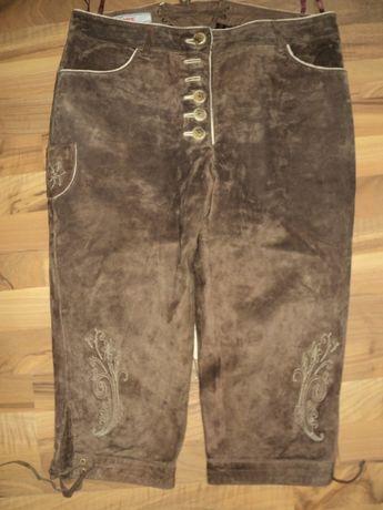 pantaloni bavarezi,traditionali Germania,din piele intoarsa,marimea 42