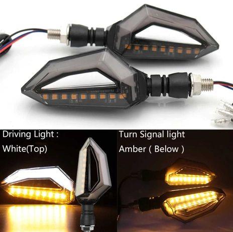 Set 2 Lampi Semnalizare Dinamice si Pozitii Albe Moto, ATV