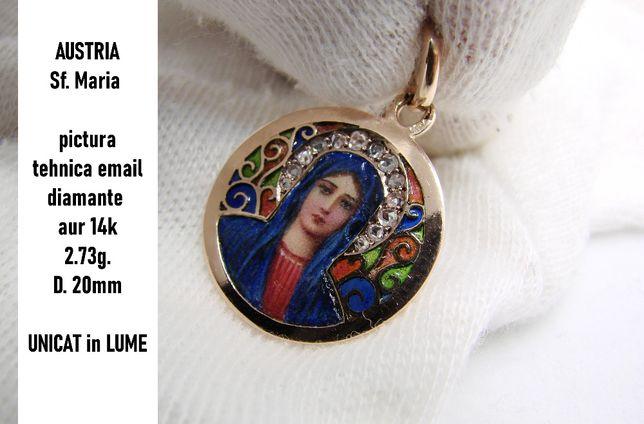 Pandantiv Amuleta Aur 14K Sf. Maria Email Si Diamante Maica Domnului