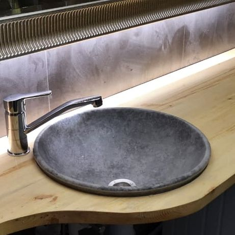 Круглые каменные раковины для ванной комнаты. Доставка бесплатно!