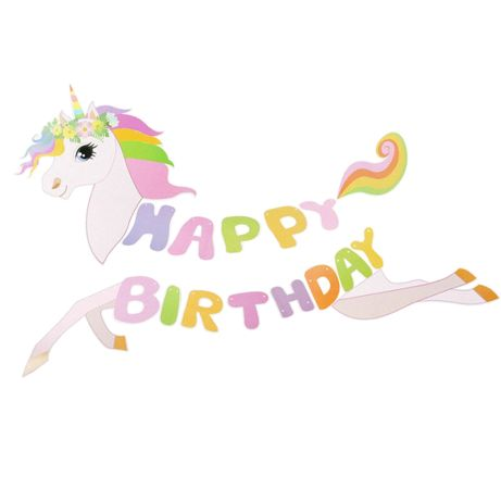 Banner carton subtire Happy Birthday Unicorn 3 m