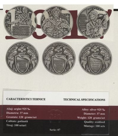 Set 3 Medalii Argint Centenarul Marasti, Marasesti Oituz