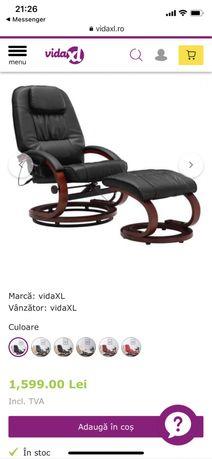 vidaXL Fotoliu de masaj rabatabil cu taburet, negru, piele ecologica