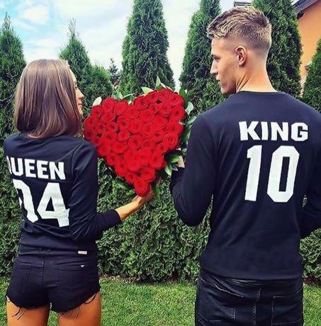 СВЕТИ ВАЛЕНТИН! За влюбени LOVE тениски блузи KING QUEEN с номер по