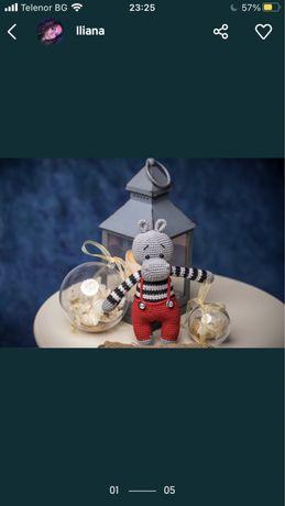 Плетени играчки на една кука Хипопотамчета