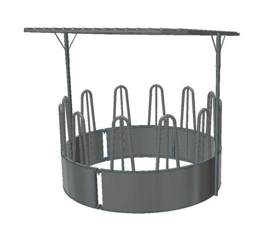 Iesle pentru bovine (cilindrică), 12 locuri, cu acoperiş /galvanizată