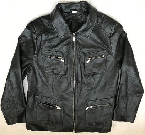 Jacheta neagra barbati piele naturala miel fina 6 buzunare haina geaca