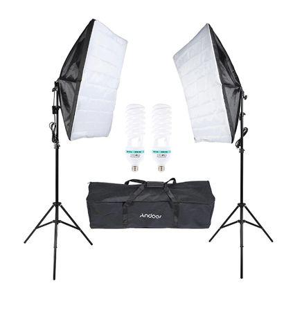 Softbox 50x70 Kit lumina continua 2x135W videochat foto studio moda