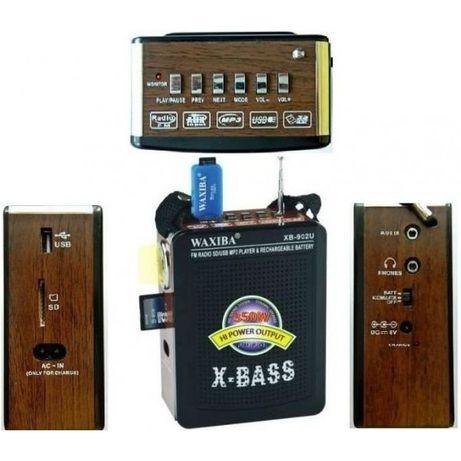 Radio FM portabil cu acumulator si port USB,slot card,Jack auxiliara