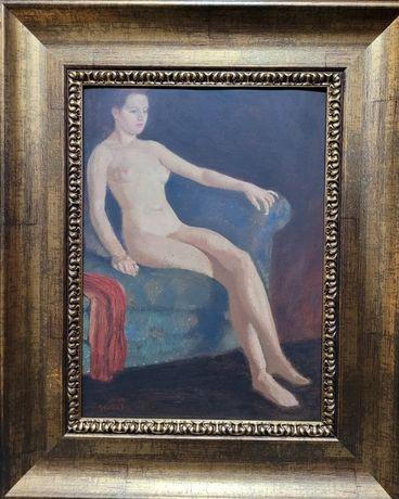 ipolit strambu- interior cu nud - tablou vechi