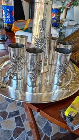 Vând set argint tăvițe carafa și 6 pahare