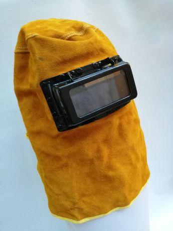 Маска заваръчна кожена,соларен панел реален цвят DIN 5-13.Сменяема бат