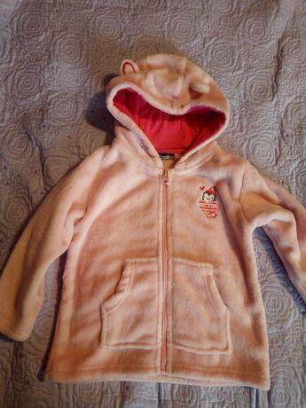 Hanorac fetiță, roz pal, din fleece, mărimea 86-93