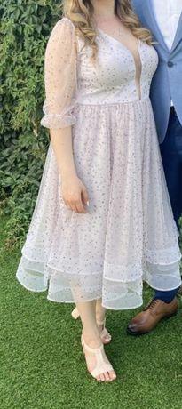 Rochie eleganta midi cu pietricele fine