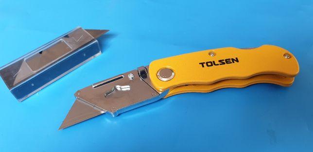 CUTTER utilitar PLIABIL cu carcasa metalica + 5 rezerve - TOLSEN !!!