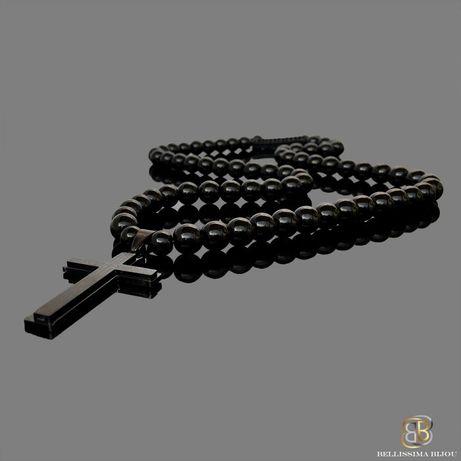 Мъжки Черен Гердан със Стоманен Кръст