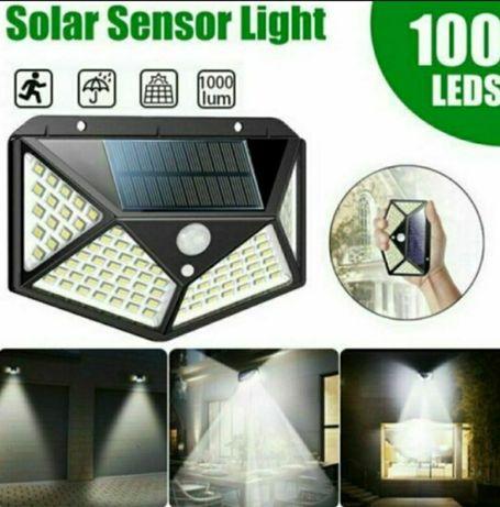 Lampa solara cu senzor de mișcare 4 fete 100 led model BK-100