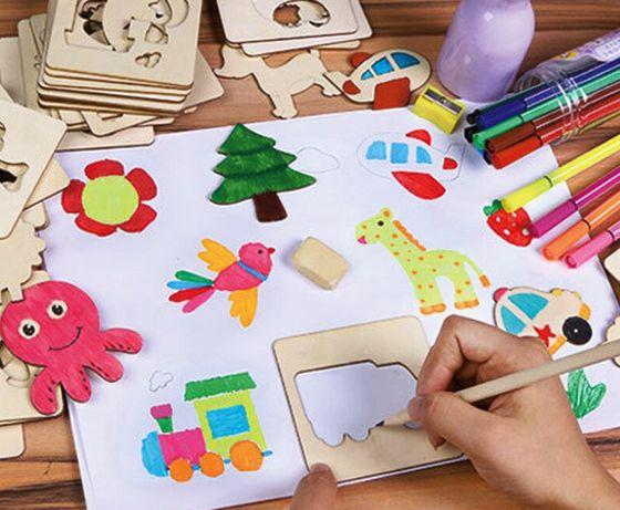Рисуване на шаблони и формички от дърво + флумастри с книжка