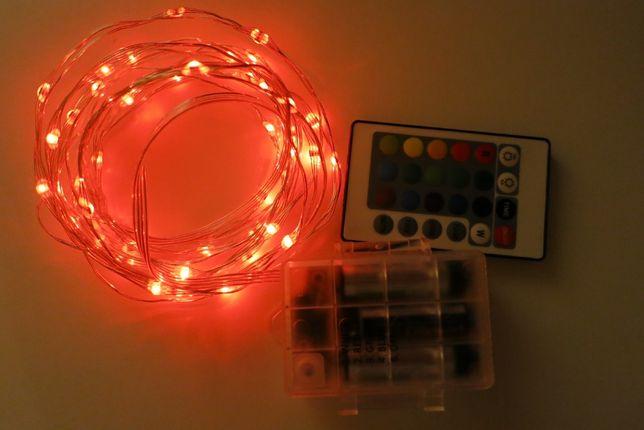 Instalatie brad Craciun 50 LED-uri, 16 culori, telecomanda, 4 moduri