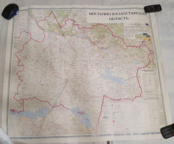 Карта ВКО начала 2000-х годов размер 87 на 76 см.