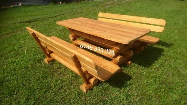 Set masa  cu  băncuțe  lemn  masiv  rotund  bușteni