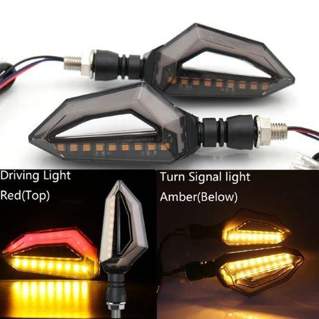 Lampi semnalizare moto, ATV, cu semnal galben si pozitii alb sau rosu