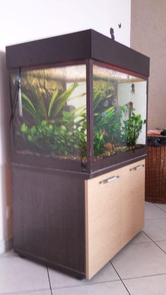 Продавам аквариум 175 лр. със шкаф