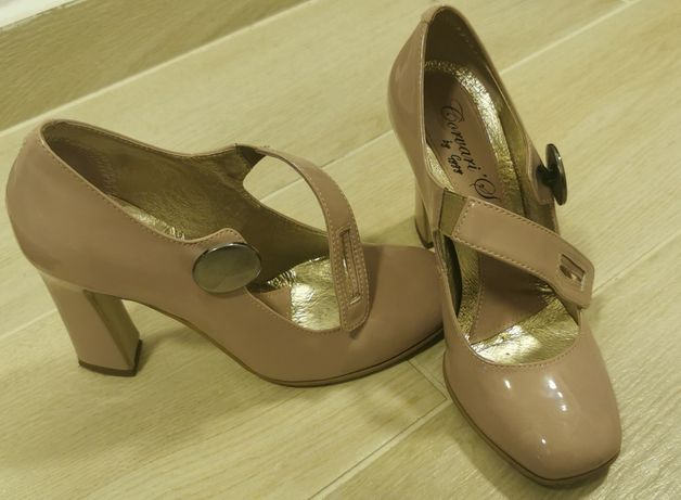 Pantofi piele naturala, crem, Mar. 37
