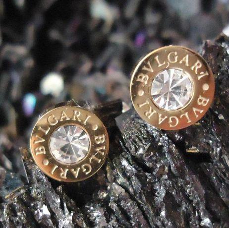 Cercei aurii unisex aliaj antialergic cristale surub