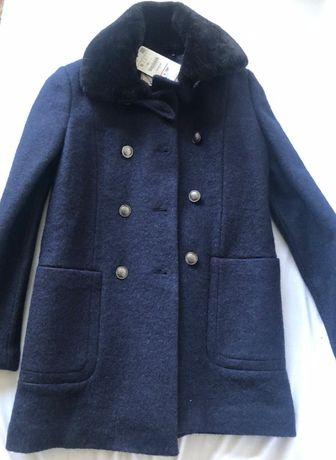 Palton nou majoritar lână Zara cu guler de blana detasabil marimea S