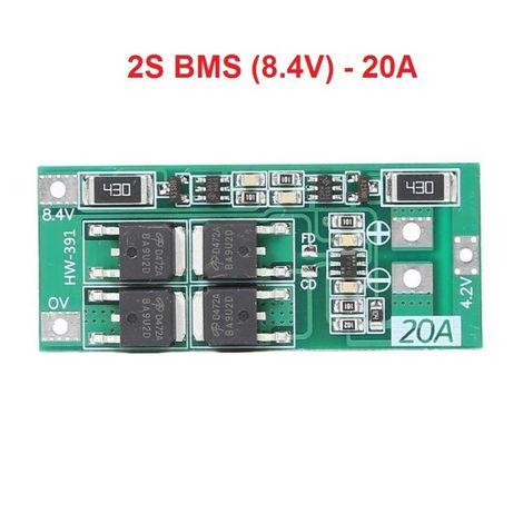 2S BMS 8.4V 20A, защитна платка с балансно зареждане, PCB BMS board